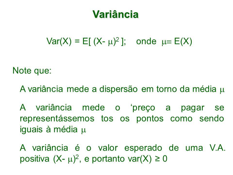 Var(X) = E[ (X- )2 ]; onde  E(X)